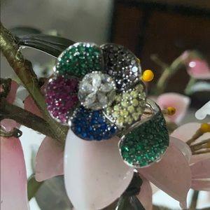 Vintage 925 ruby emerald sapphire onyx ring